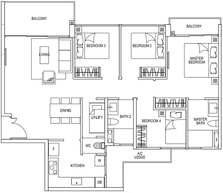 BWD D1A 4BR + U and 2 balconies